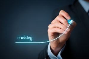 Increase ranking concept. Businessman draw plan to increase ranking of his company or website.